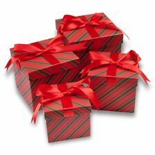 Christmas Nesting Gift Boxes with Lids Ribbon 4 Pack Sizes Present Box Candy
