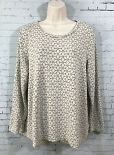 J Jill Floral Tunic Large Long Sleeve Ivory Gray Flowers Scoop Neck Knit Top