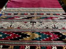 Vintage Laos Textile Art Hand Woven Silk Scarf Boho Wall Hanging Cover 30x84""