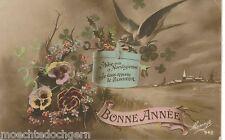 FOTO AK ~ BONNE ANNEE ~ NEUJAHR FLORAL VOGEL COLOR ~ BESCHRIEBEN MESANGE ~ 1910