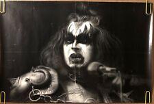 original vintage poster Gene Simmons illustration black & white KISS 1980s