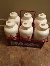 6 white mueller hockey water bottles w/ carrier (Mueller)