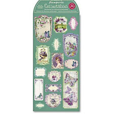 Stamperia Pre Cut Chipboard Labels Vintage Violets Collection Butterflies Craft