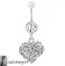 CZ Gem Clear Filigree Heart Dangle Navel Belly Bar Ring Body Piercing Jewelery
