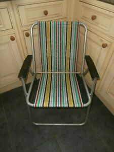 Vtg1970s Retro Striped Folding Garden Deck Chair Fishing Beach Camping Campervan