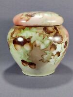 Vintage Porcelain Acorn Themed Ginger Jar Pipe Smoking Tobacco Humidor