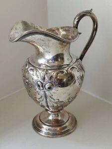 279 gram Engraved Antique Coin Silver Pitcher