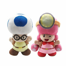 """2X Toadette Blue Toad for Captain Toad Super Mario Plush Toy Stuffed Animal 8"""""""