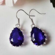 Ohrhänger Ohrringe Vintage Kristall Strass Tropfen blau lila silber versilbert