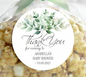 24 x Baby Shower Personalised Stickers, Thank You, 45mm
