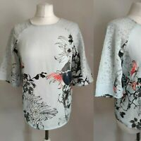 VERO MODA Women Top Blouse Blue Floral Print Lacy Sleeve Work Office Formal S 10