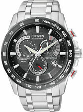 NEW* Citizen Mens Eco Drive AT4008-51E Steel S/S Atomic Radio Chronograph Watch