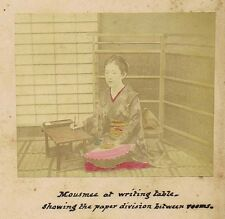 JAPAN Mousmee at Writing Table Coloured Antique Photograph c1890