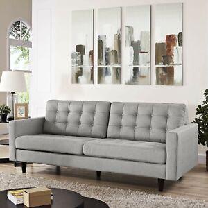 Mid-Century Modern Tufted Fabric Upholstered Living Room Sofa in Light Gray