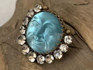 Rare Antique Victorian Saphiret Man in Blue Moon Cresent Pin Brooch Czech Glass