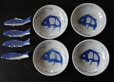 100% Pintado A Mano Chino Azul y Blanco carpas koi peces 4 platos y 4 descansa