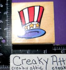 PATRIOTIC HAT UNCLE SAM TOP HAT RUBBER STAMP STAMPENDOUS D093