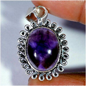 Natural Amethyst Cabochon Gemstone With Silver Plated Pendant Jewelry