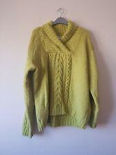 Women's Green Long Sleeve Pure Wool Jumper - Angora Ecosse - Large