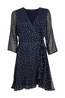 Decjuba Women's Kate Dress Mini Navy Blue Wrap Silver Abstract Spot Size 8 $129