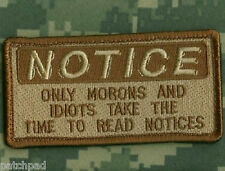 SYRIA/IRAQ DAESH WHACKER OIR INHERENT RESOLVE GREEN BERETS PATCH: MORONS NOTICE