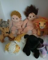 Mixed Lot 7 x Ty Beanies Babies Animals Dogs Lion Rat