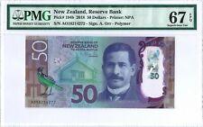 New Zealand 50 Dollars 2018 PMG 67 EPQ s/n AO 18 214272  POLYMER