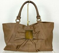 Salvatore Ferragamo Runway Auth Large Brown Leather Hand Bag Purse Tote Travel