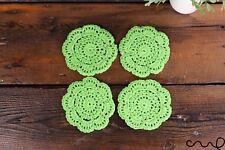 Set of 4 Handmade Light Green Cotton Crochet Round Coasters Vintage Chic Doily