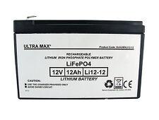 Ultramax Litio Li-Po 12V 12AH (come 15Ah) Esca Barca Batteria - 45% More Time