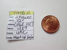ZAMBIA, 1983, 2 ngwee, KM 12, (1968-1987),  Unc.