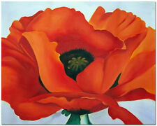 Red Poppies Flower - Hand Painted Georgia O'Keeffe Oil Painting On Canvas