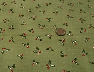 "Holly Leaves & Red Berries on Avocado Green* ""Friends"" Moda* 100% Cotton Remnant"