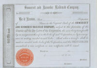 1850s Somerset and Kennebec Railroad Maine stock certificate share