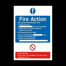 Fire Action Sign, Sticker - 150mm x 200mm (A5) - Fire Exit, Assembly (FA17)
