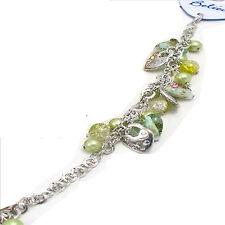 Tono plata Cerradura Heart & grano de encanto pulsera Verde