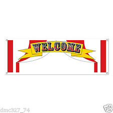 """1 CIRCUS Carnival BIG TOP TENT Party Decoration WELCOME SIGN BANNER 60"""" x 21"""""""