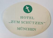 vintage reise aufkleber wasserabziehbild hotel zum schutzen munchen münchen