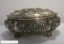 Antique Italian oval sterling silver 800 repousse Jewelry Box