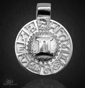 Sternzeichen Zwilling - Amulett 925 Sterlingsilber mit Kautschukband!