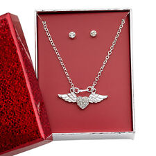 Silver Angel Wing Heart Charm Necklace & Rhinestone Stud Earring Gift Box Set