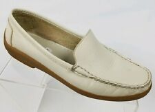 Bass Majesta Womens Driving Loafers White Ivory Moc Toe Leather Shoes Size 7.5