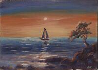"""Russischer Realist Expressionist Öl Pappe """"Abend"""" 18 x 13 cm"""