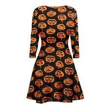Womens Ladies Skull Pumpkin Flared Swing Dress Halloween Party Plus Sizes 8-26