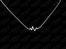 Genuine 925 Sterling Silver Heartbeat Necklace Wave Wavey Bar Heart Beat