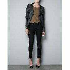 ZARA BLACK LAMBSKIN LEATHER MOTORCYCLE MOTO COAT JACKET L M  NWT