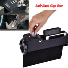 Black PU Car Left Seat Storage Box Catcher Gap Filler Coin Collector Cup Holder