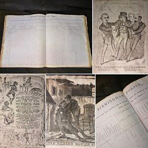 1870 Folio BIRMINGHAM POLICE JOURNAL used as a SCRAPBOOK 200pp MANUSCRIPT CRIME