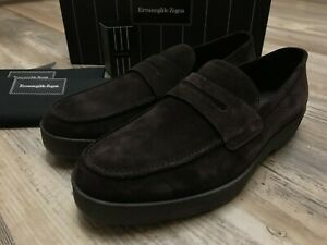 Zegna Loafers Zegna Brown Suede Loafers Thick Platforms Size 10US 9UK 43 EU WIDE