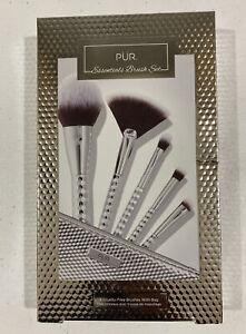 PUR Essentials Brush Set - Silver - 5 Makeup Applicator Brushes